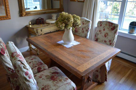 Farmhouse Amish Dining Table With Trestle Base