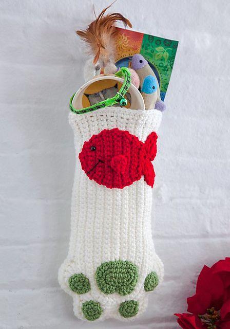 Crochet Cat Paws Christmas Stocking
