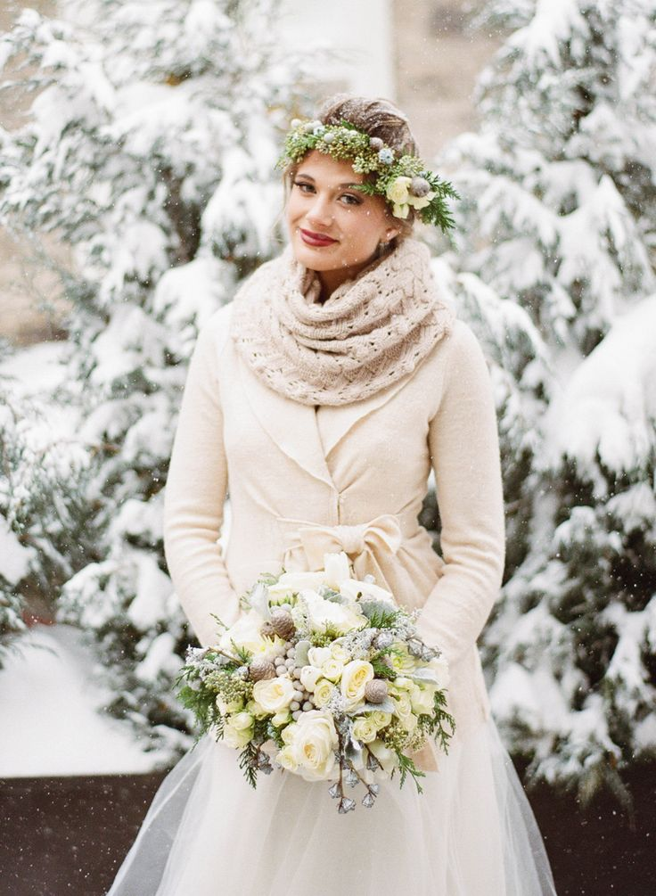 Bride in Scarf and Winter Coat   photography by http://jacquelynnphoto.com/