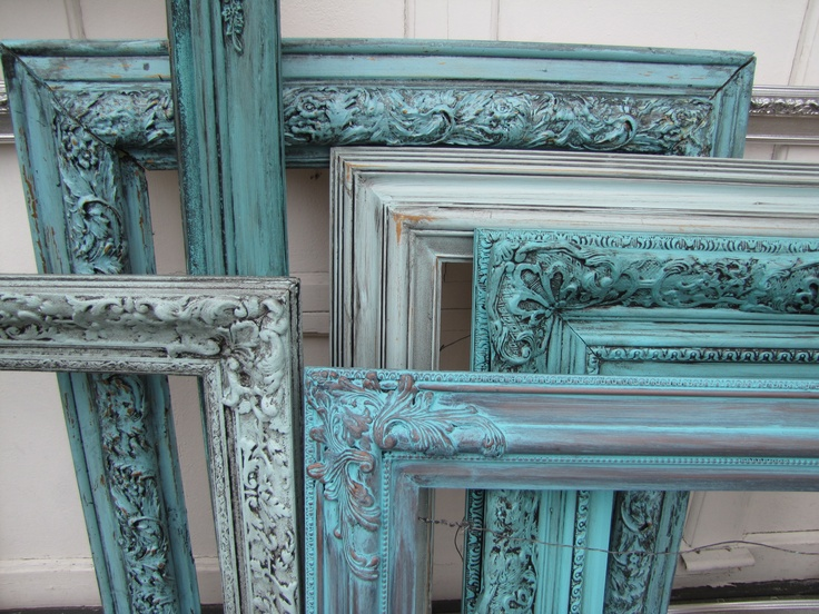 Custom Teal Vintage Ornate Picture Frames... Perfect for a teal gray and white bathroom!