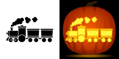 Train pumpkin carving stencil. Free PDF pattern to download and print at http://pumpkinstencils.org/download/train-pumpkin-stencil/