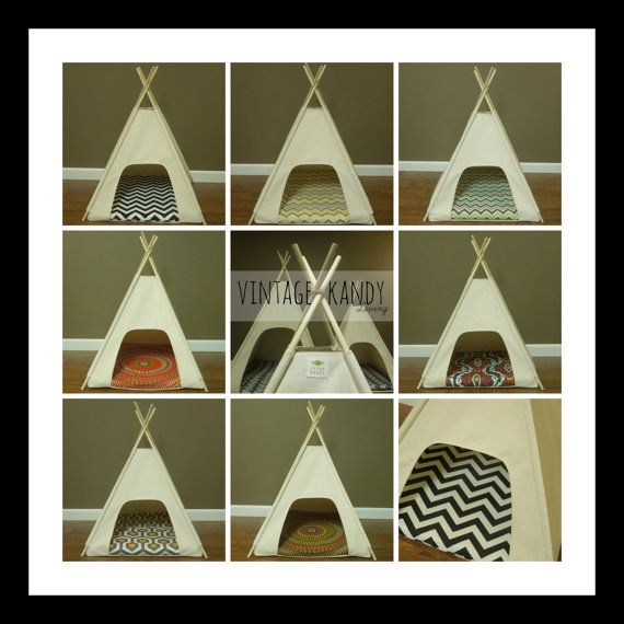 Small Dog/Cat Teepee Pet Tent 24 base by VintageKandyLiving, $95.00