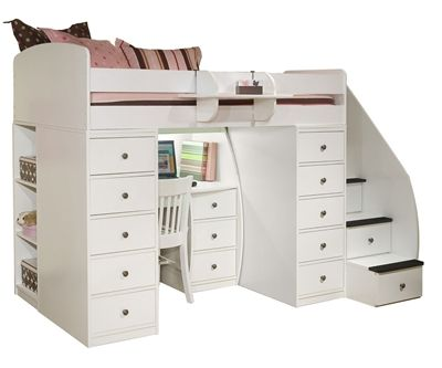 Sierra Space Saver Loft Bed with Two Chests, Desk and Stairs - www.ekidsrooms.com