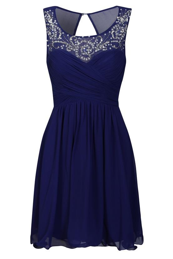 vestido corto azul marino con pedrería