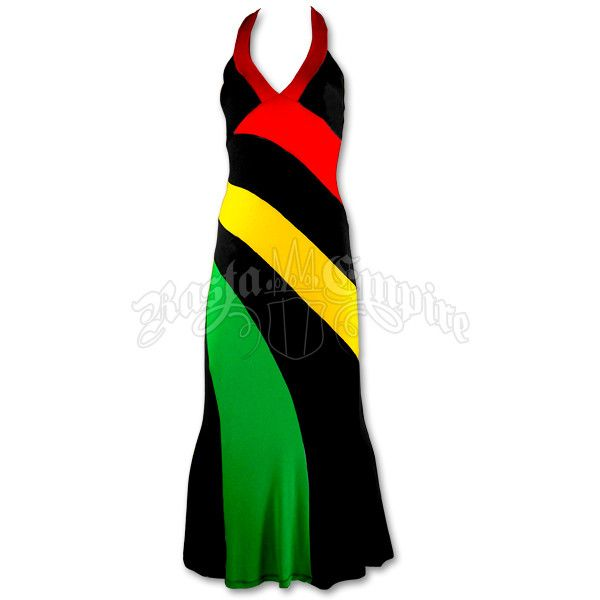 Rasta and Reggae Long Halter Dress ❤ liked on Polyvore featuring dresses, halter neck dress, stripe dresses, red halter neck dress, long length dresses and long striped dress