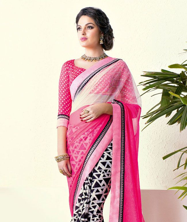 Bestow a pure delicacy to the eyes around you with this alluring drape. Make this exclusive traditional Indian saree with contemporary modern designs and exceptional feel your prized possession.BRAND: VishalCATEGORY: Saree with Unstitched BlouseARTICLECOLOURMATERIALLENGTHSareeBlack, White and PinkChiffon5.50 metersBlousePinkArt Silk0.80 meterWe would always want to send you what we showcase but there might be a slight variation in colour due to photographic effects. Also note that styling is…