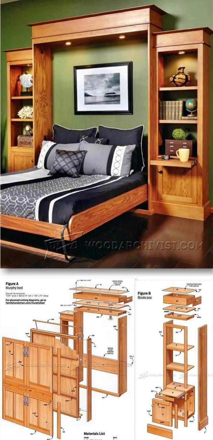 A Wooden Murphy Bed Within A Bookshelf Diywoodprojectseasykids Furniture Plans Murphy Bed Diy Bed Furniture
