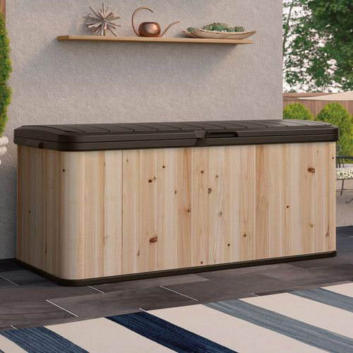 Suncast 120 Gallon Hybrid Cedar and Resin Deck Box