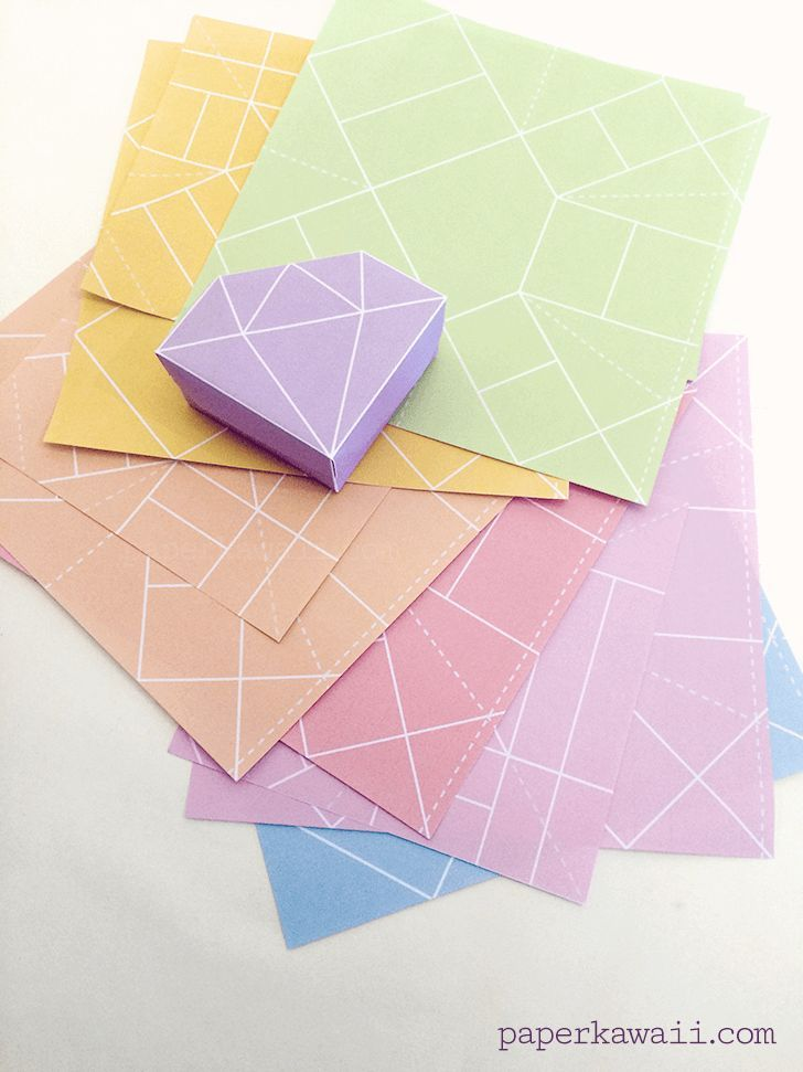 Free Printable - Origami Crystal Box + Tutorial, 9 free printable origami crystal box papers, perfect gift boxes, straight forward to fold - watch the accompanying tutorial video for these origami gems! #crystal #gem: