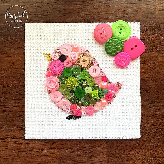 Button Art - Pink Bird - Nursery Decor, Pink Bird Wall Hanging, Button Bird Wall Decor, Small Bird Art
