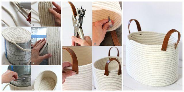 Diy c mo hacer un bonito cesto con cuerda y pegamentodiy - Cesta de cuerda y ganchillo ...