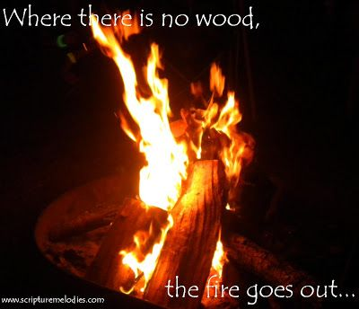 """Where there is no wood, the fire goes out; And where there is no talebearer, strife ceases. As charcoal is to burning coals, And wood to fire, So is a contentious man to kindle strife."" Proverbs 26:20-21"