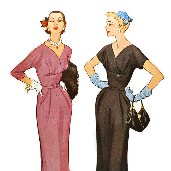 1950s Surplice Bodice Dress Pattern Fitted by VtgSewingPatterns, $25.00