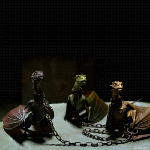 """Daenerys' dragons: Rhaegal, """"the green"""" named after her oldest brother, Viserion """"the cream and gold"""" named for her brother Viserys, and Drogon, """"the black,"""" named after her dead husband Drogo. Click through to the original link for the adorable animation!"""