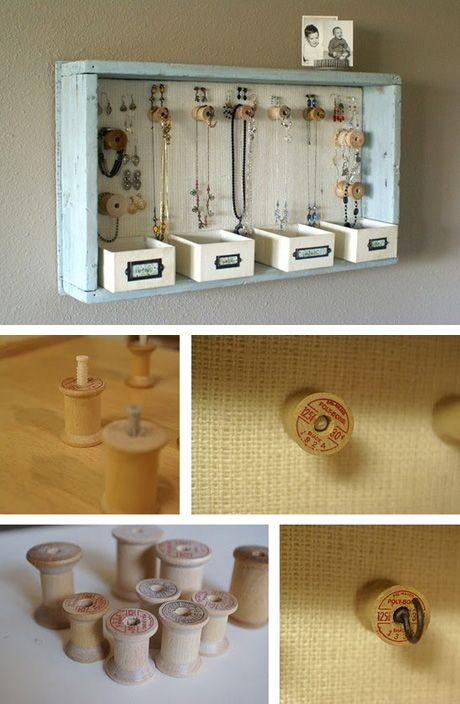 jewlery made with wooden spools | Spool Jewelry Holder Pin It