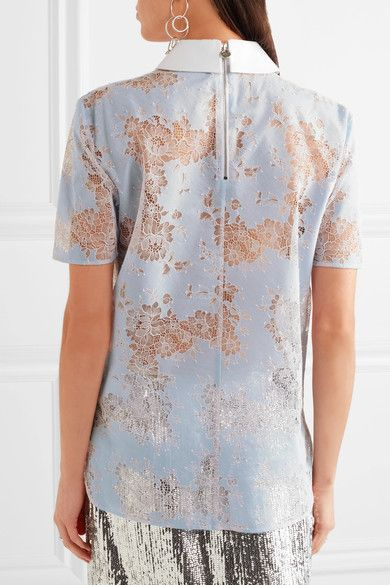 Carven - Cotton Twill-trimmed Lace Blouse - Blue - FR42