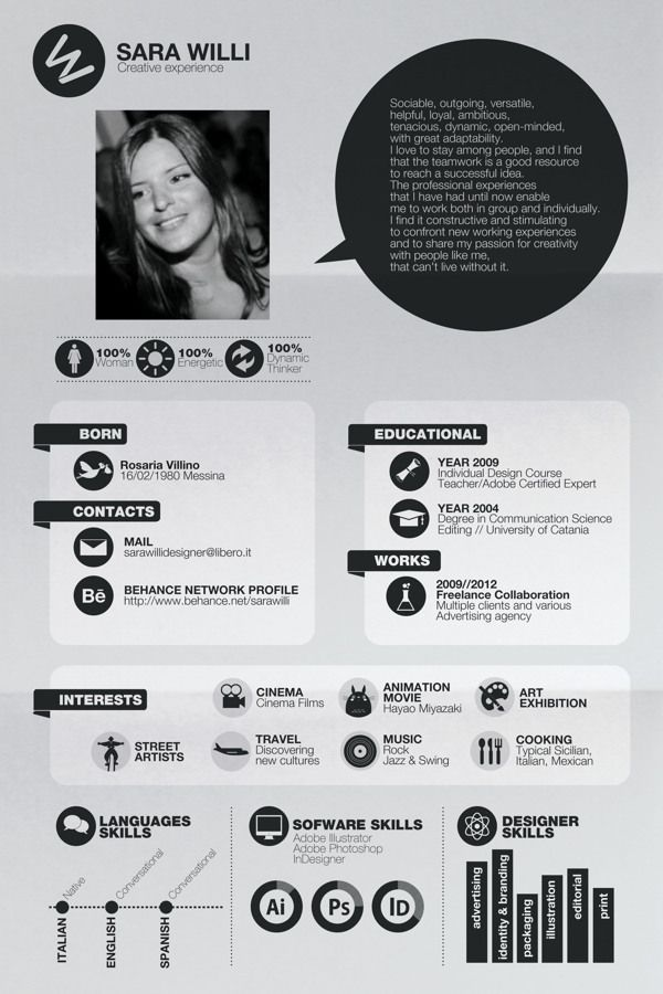 Want to have your own creative infographic resume? Go to http://styleresumes.com! Like our FB page https://www.facebook.com/pages/Style-Resumes/395730460525201 and Follow our Twitter https://twitter.com/StyleResumes1 for more #ResumeTips and inspiration!
