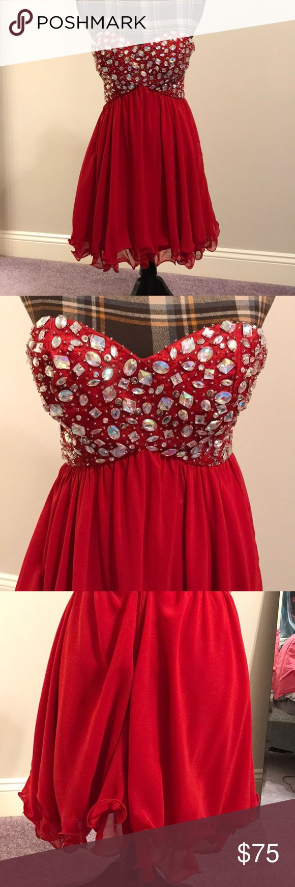 Dress This shirt red dress includes silver embellishments on the bodice we well as a lining on the inside. It is a size 3 but that is also very similar to a size 2 US. B. Smart Dresses Mini
