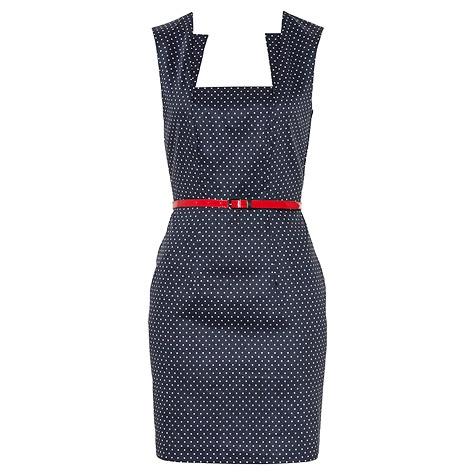 Belted Spot Sateen Dress - DRESSES - Sale - PortmansPolka Dots, Spots Sateen, Red Heels, Belts Spots, Sateen Dresses