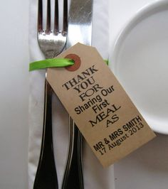 Wedding Napkin Holders-Rustic Wedding Table Decor-Vintage Type Luggage Tags-Thank You for Sharing-Set of 60-Wedding Table Decorations on Etsy, $77.59