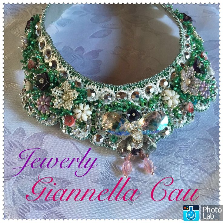 """collier """"ely """" embroidery beads swarovski"""
