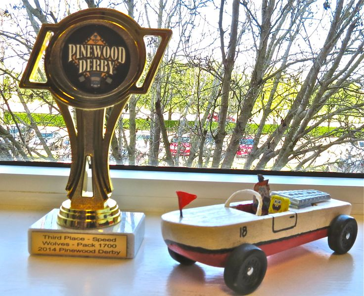 "Pinewood Derby  Mrs. Puff finally gave Spongebob a passing review for coming in third in the ""Boat Mobile"" and not crashing. #cubcontest!"