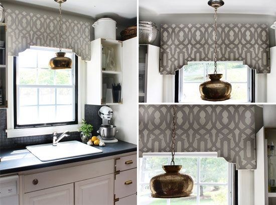 creating your own diy window treatments, painting, window treatments, DIY stenciled cornice board