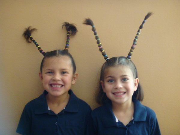 Use pipe cleaners or paperclips to keep the hair out/up wacky hair day @Christa Vickers Vickers Stec