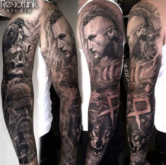 25 b sta id erna om viking tattoo sleeve p pinterest for Norse tattoo sleeve