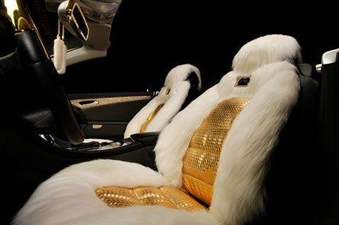 Swarovski Crystal Mercedes Benz Golden Seat Cover