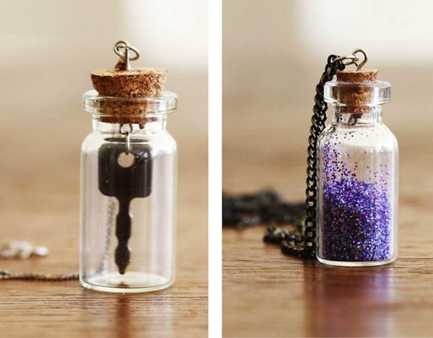 Tiny bottle necklace...I'm making these for our Mermaid Party.  Got the bottles with the hooks on the corks for $0.50 each at Hobby Lobby.  Still deciding on the filler!