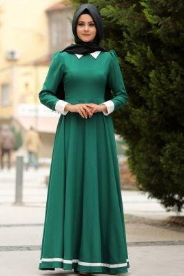 Nurgül Çakır Petrol Yeşili Lal Tesettür Elbise