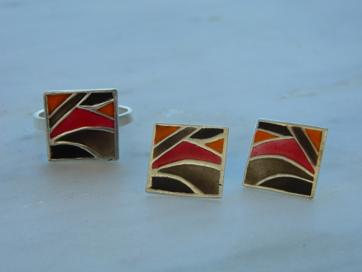 colourfull ring and earrings     -liquid glass with pastel colours on pmc silver 999'