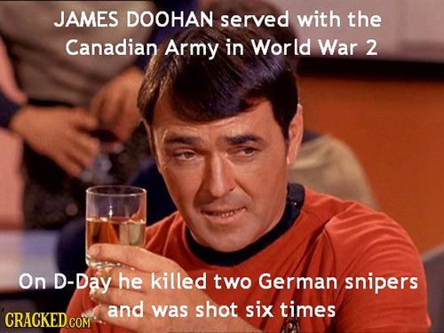 33 Facts About Famous People You Won't Believe Are True Article | James Doohan