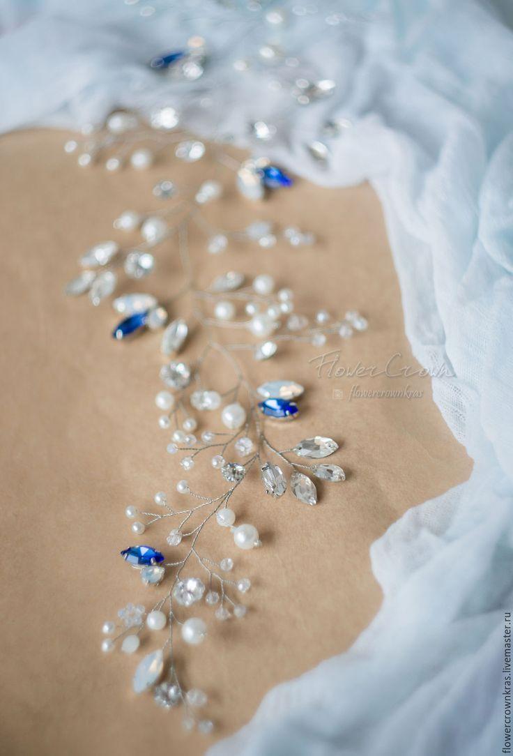 """Купить """"Лоза русалки"""". Украшение в прическу невесте в синей гамме - тёмно-синий, море Волшебное сочетание серебра, глубокого синего и кристаллов цвета опал подчеркнет ваш нежный образ."""