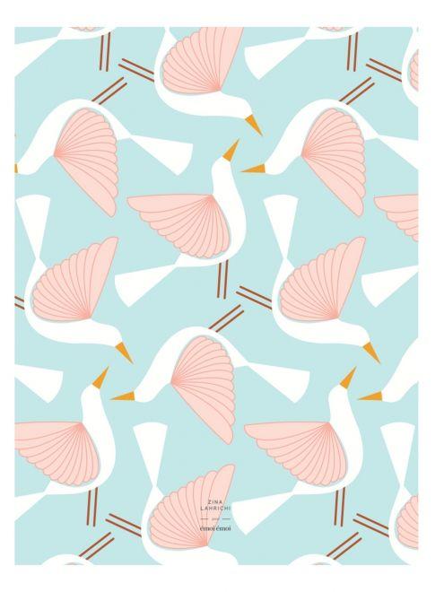 L'affiche Oiseaux Allover - Zina Lahrichi x émoi émoi EMOI EMOI - Photo