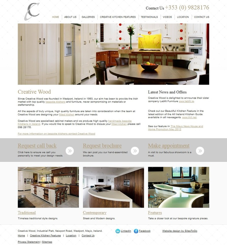 Creative wood wanted a website that would showcase their extensive range of bespoke kitchen designs. This was achieved through the rotating banner images at the top of the website and the use of galleries, throughout.