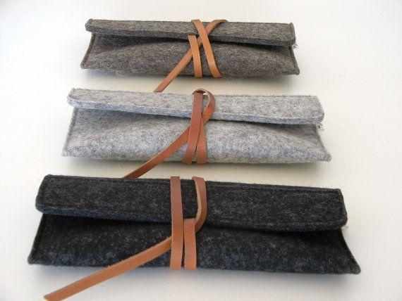 Feutre de laine minimaliste en cuir cas-lunettes de soleil-crayon cas-gris à la main-soft-multi fonctionnel - durable-eco cadeau de l