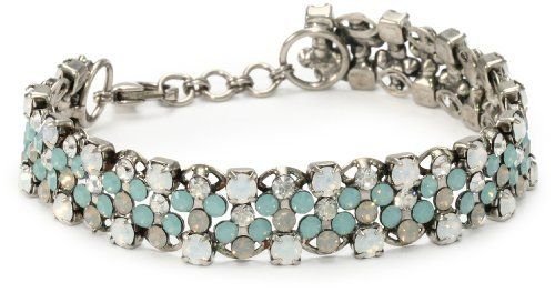 "Sorrelli ""Aegean Sea"" Rhinestone Chain,Pacific Opal, Light Grey Opal Bracelet Sorrelli. $100.00. Items that are handmade may vary in size, shape and color. Made in China. Antique silver finish"
