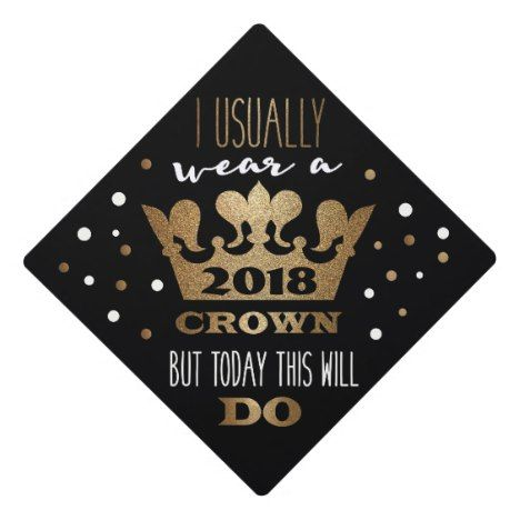 Custom Black Faux Gold Glitter Crown Graduation Graduation Cap Topper | Zazzle.com