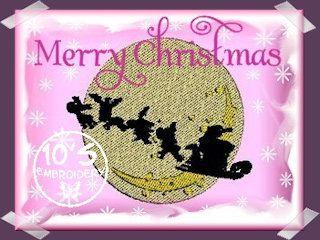 10EMBROIDERY Patroon Kerst Kerstman Op De Slee Voor De Maan (34K)