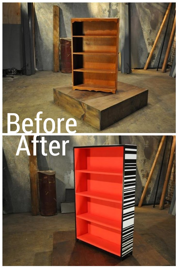 Not a Plain Bookshelf for Long! Bright Red Paint with Exterior Black and White Stripes Make This Piece Funky and Fresh.