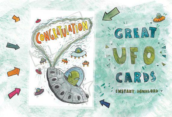 Congratulation card // Original card with UFO  // by PlankArt