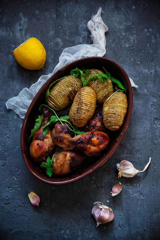 picante-jalapeno.blogspot.com: Pieczone udka z kurczaka i nacinane ziemniaki Hasselback