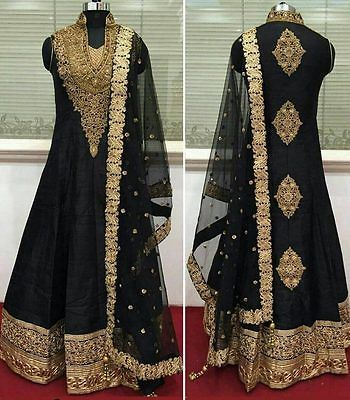 Bollywood Zari Work Black Anarkali Suit New Indian Pakistani Replica Dress