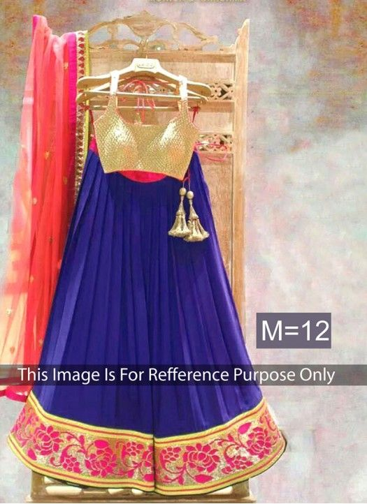 Blue And Peach Designer Georgette Lehenga Choli