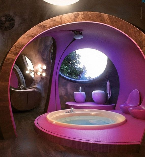 Purple hot tub retreat.  Extraordinary Bathtub Designs no. 11 #Purple