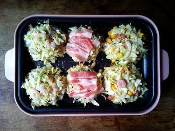 BRUNOコンパクトホットプレートで小さいお好み焼き3種 by ひな   レシピサイト「Nadia   ナディア」プロの料理を無料で検索