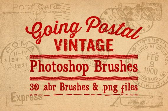 Postal Mail Photoshop Brushes Clipart - 30 Vintage Ephemera Going Postal Digital Stamps Clip Art - .abr brushes by ClikchicDesign #photoshop #graphic #design by Clikchic Designs