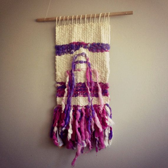 Purple and White Wall Hanging by CrisalidaTextile on Etsy